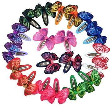 20pcs Butterfly Hair Ribbon Bows Hair Clip Bows Baby Girls Bobby Pin Children Hair Pins