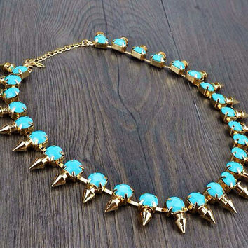 Baby Blue Punk Rivet Statement Necklace