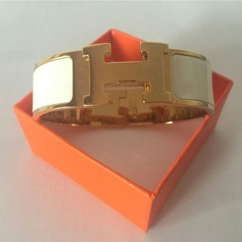 Authentic fashion HERMES Clic Clac Wide PM Bracelet H White GHW Bangle
