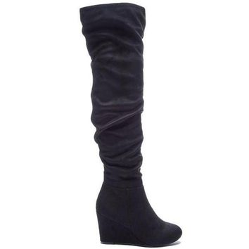 CREYONIG Chinese Laundry Ultra - Black Suede Wedge Boot