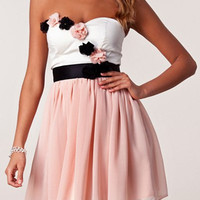 Pink and White Strapless Floral Chiffon Dress