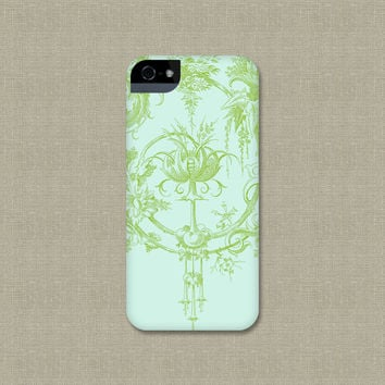 iPhone5 Case, Toile Like Garden, iPhone 4 Cover, Leaf Green and Aqua, iPhone 5S, iPhone 5C Case
