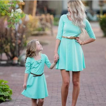Mother Daughter Solid Matching Dresses
