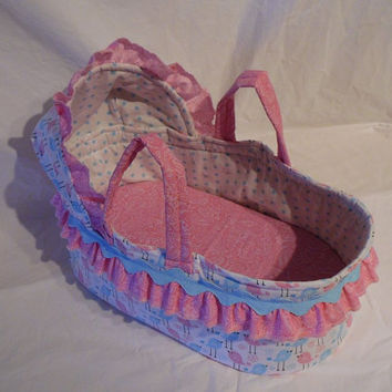 Carrier Bed for Dolls, Available in 2 Sizes for Bitty Baby, Cabbage Patch, Waldorf, Large Baby Dolls, Pink and Blue Birds