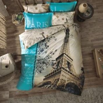 100%Cotton 6-pc PARIS IN AUTUMN Full Quilt Duvet Cover Bedding Set w/ Extra Case