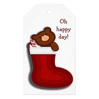 Cute Funny Teddybear in Stocking Christmas Pack Of Gift Tags