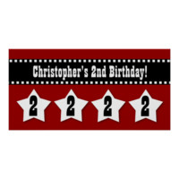 2nd Birthday Red Black Stars Banner Custom V01 Posters
