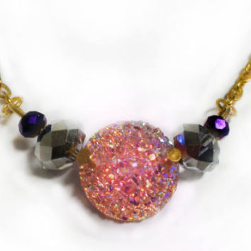 Sparkly Druzy Necklace - Glitter Necklace Coral Pink Gold Jewelry Statement Rainbow Jewelry Fashion Jewelry Set Circle Large Girly Purple