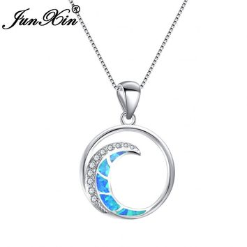 Round Moon Pendant  Blue Fire Opal  925 Sterling Silver Filled Zircon Moon Necklaces
