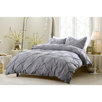 Pinch Pleat Design Gray Duvet Cover Set Style