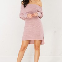 Off The Shoulder Knit Dress in Pink