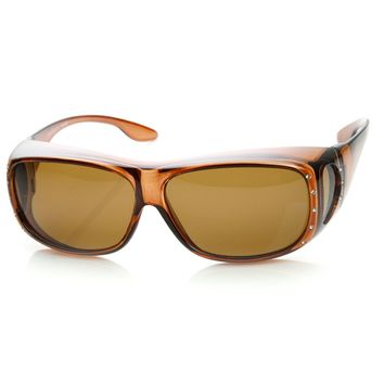 Womens Large Polarized Lens Cover Wrap Sunglasses with Side Lens