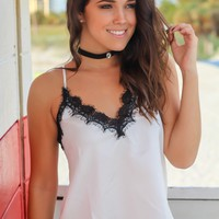 White and Black Lace Top