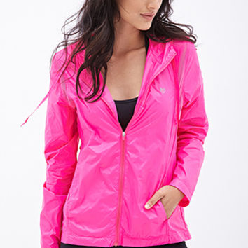 FOREVER 21 Mesh Back Windbreaker Jacket Hot Pink