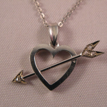 18k White Gold  and Diamonds Heart with Arrow - Free 9k Gold Chain - Valentine Gift