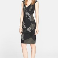 Women's Versace Collection Studded Cap Sleeve Sheath Dress,