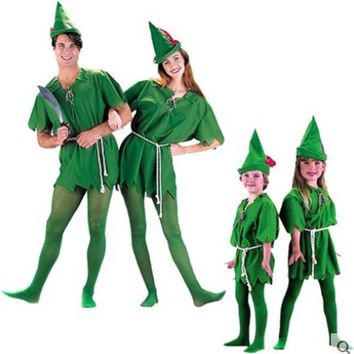 Peter Pan Cosplay  Costume Child Kids Cartoon Movie Costume Sexy Women Girls Boys Peter Pan Costume