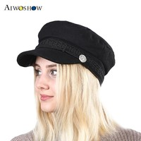 2017 year Women beret hat Vintage Hats for Women  New Fashion Military Hat Gorras Planas Snapback Caps Female Casquette
