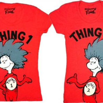 Dr. Seuss Thing 1 & 2 Heather Red Juniors T-shirt