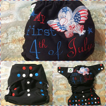 MADE TO ORDER My First 4th Of July One Size Cover/Pocket/Ai0/Ai2 Diaper