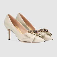 shosouvenir :GUCCI: Leather mid-heel pump with bow High-heeled shoes