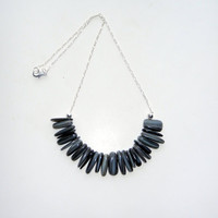 Grey Shell Stick Necklace