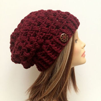 FREE SHIPPING - Crochet Slouch Hat, Beanie, Puff - Maroon, Dark Red, Brown Flower Button