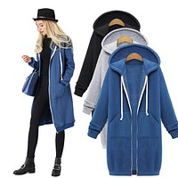 Hooded Zipper Sweatshirt Coat