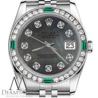 Ladies Rolex 31mm Datejust SS Black MOP Dial with Diamonds Emerald Watch