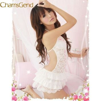 Chamsgend sexy Lace women Sleepshirts 2017 Black White Lingerie Backless Halter Babydolls G-string petticoat Mini undershirt 78#