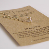 Daughter Necklace- Silver Cube CZ Necklace Simple Dainty Necklace Meaningful Jewelry For Precious Little One Celebration Birthday Gift Ideas