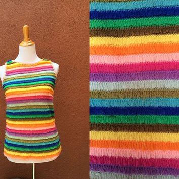Vtg Shaggy rainbow rave tank fuzzy club kid striped sleeveless shirt hippie unique fun bright multicolored