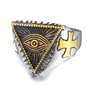 Men's Cool Ring - Stainless Steel with a Cross & Eye - Ships Complimentary