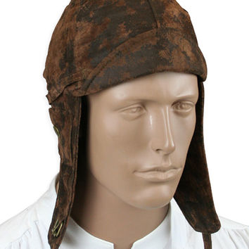 Faux Leather Aviator Helmet - Distressed Brown