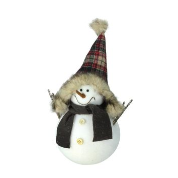 "13"" Decorative Portly Snowman in Plaid Trapper Hat Christmas Tabletop Decoration"