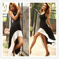 European Style Women Unique Black Splicing Asymmetrical Hem Maxi Dress X243 S-XL