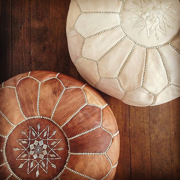 Stuffed Moroccan Pouf Leather Ottoman Poof pouffes hassock Footstool Beanbag leather pillow, tan an white pouffe Moroccan design