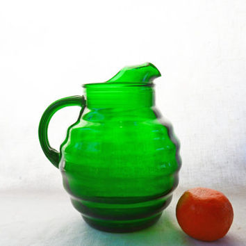 Vintage Green Ball Pitcher, Forest Green Round Pitcher, Whirly Twirly by Anchor Hocking