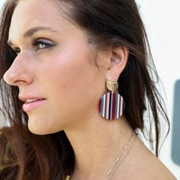 So Invested Round Multi Stripe Earrings