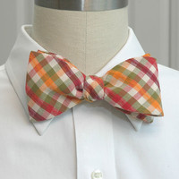 Men's Bow Tie in plaid orange green & burgundy by CCADesign