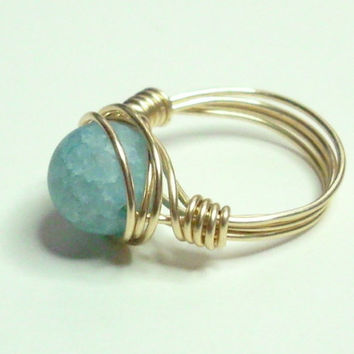 Blue Crackle and Gold Wire Wrapped Ring