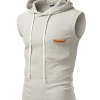 J.TOMSON Mens Basic Sleeveless Hoodie Vest w/ Pockets