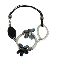 Chunky Statement Necklace Black Cord 18""