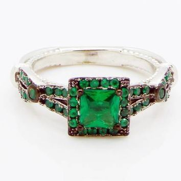 Art Deco Emerald Quartz Sterling Silver Ring, Size 6