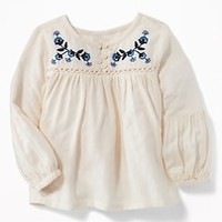Embroidered Crepe Tunic for Toddler Girls|old-navy