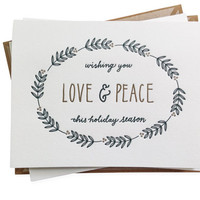 Love and Peace letterpress card - set of six