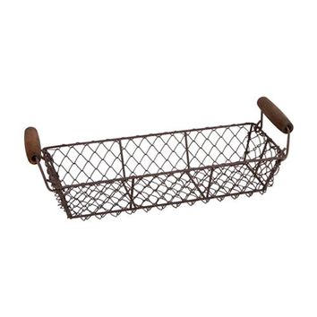 Rectangle Wire Basket With Wood Handles
