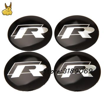 4Pcs/Lot Car Wheel Tires Cover Auto Interior Decoration Stickers Decal Emblem For R Logo Rline Lavida  Jetta Touareg CC Beetle