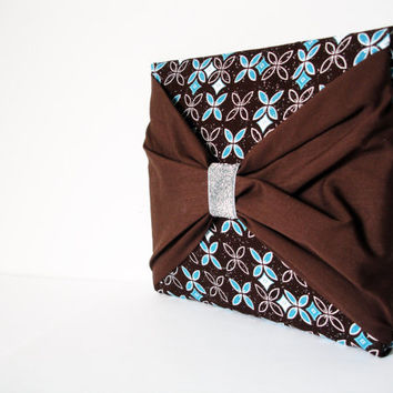 Aqua - Brown Clutch Purse,Brown Bow Clutch,Handmade Purse,iPad case
