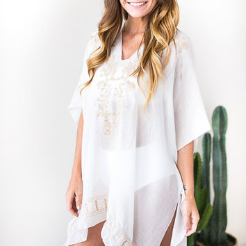 Vitamin D Embroider Cover Up - Taupe